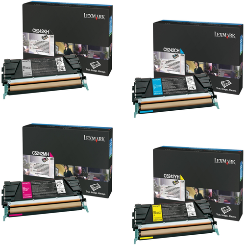 Lexmark C5242 Set   C5242CH C5242KH C5242MH C5242YH   Original Lexmark High-Yield Toner Cartridges – Black, Cyan, Magenta, Yellow