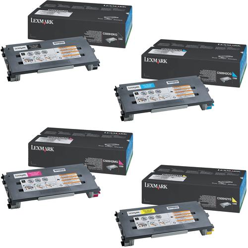 Lexmark C500H2 Set   C500H2CG C500H2KG C500H2MG C500H2YG   Original Lexmark High-Yield Toner Cartridges – Black, Cyan, Magenta, Yellow