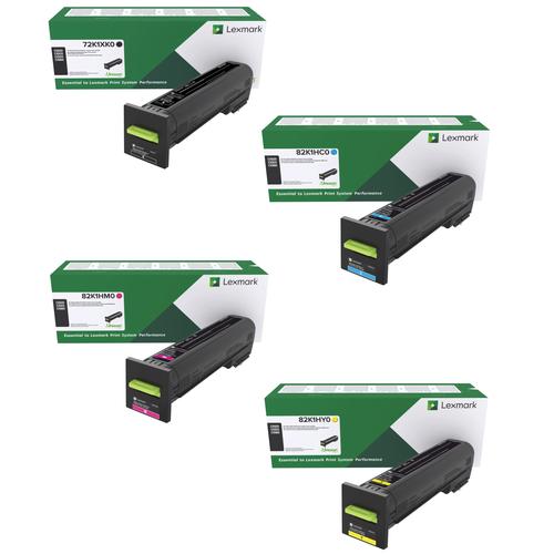Lexmark CX820HY Set   72K1XK0 82K1HC0 82K1HM0 82K1HY0   Original Lexmark High-Yield Toner Cartridges – Black, Cyan, Magenta, Yellow