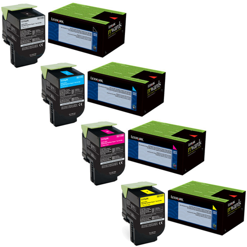 Lexmark 80C0SG Set | 80C0SCG 80C0SKG 80C0SMG 80C0SYG | Original Lexmark High-Yield Toner Cartridges – Black, Cyan, Magenta, Yellow