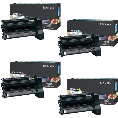 Lexmark C782U1 Set | C782U1CG C782U1KG C782U1MG C782U1YG | Original Lexmark Extra High-Yield Toner Cartridges – Black, Cyan, Magenta, Yellow
