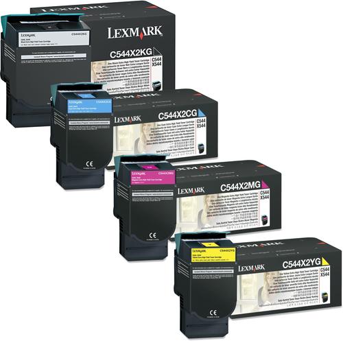 Lexmark C544X2 Set   C544X2CG C544X2KG C544X2MG C544X2YG   Original Lexmark Extra High-Yield Toner Cartridges – Black, Cyan, Magenta, Yellow