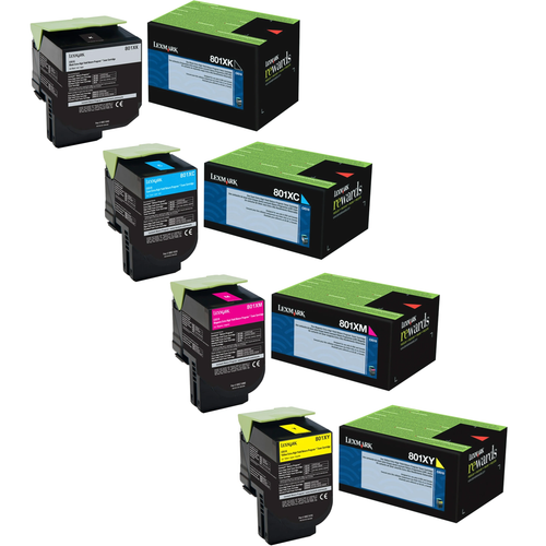 Lexmark 801X Set | 80C1XC0 80C1XK0 80C1XM0 80C1XY0 | Original Lexmark Extra High-Yield Toner Cartridges – Black, Cyan, Magenta, Yellow