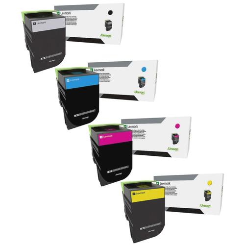 Lexmark 80C0X Set | 80C0X10 80C0X20 80C0X30 80C0X40 | Original Lexmark Extra High-Yield Toner Cartridges – Black, Cyan, Magenta, Yellow