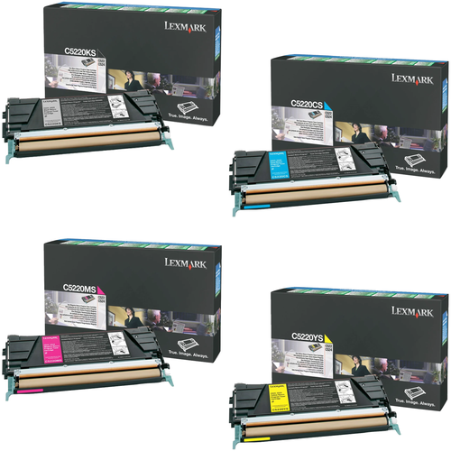 Lexmark C5220 Set | C5220CS C5220KS C5220MS C5220YS | Original Lexmark Toner Cartridges – Black, Cyan, Magenta, Yellow