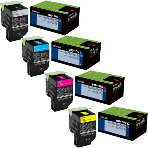 Lexmark 700HG Set   70C0HCG 70C0HKG 70C0HMG 70C0HYG   Original Lexmark High-Yield Toner Cartridges – Black, Cyan, Magenta, Yellow