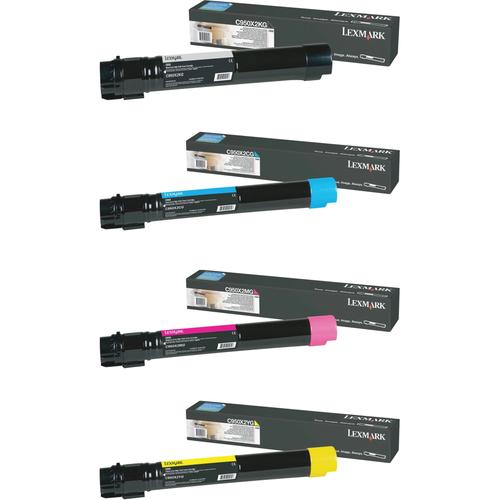 Lexmark C950X2 Set | C950X2CG C950X2KG C950X2MG C950X2YG | Original Lexmark Extra High-Yield Toner Cartridges – Black, Cyan, Magenta, Yellow