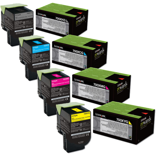 Lexmark 700XG Set   70C0XCG 70C0XKG 70C0XMG 70C0XYG   Original Lexmark Extra High-Yield Toner Cartridges – Black, Cyan, Magenta, Yellow