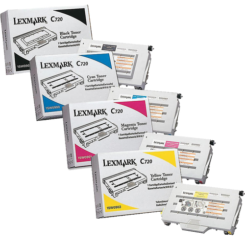 Lexmark C720 Set | 15W0900 15W0901 15W0902 15W0903 | Original Lexmark C720 Toner Cartridges – Black, Cyan, Magenta, Yellow