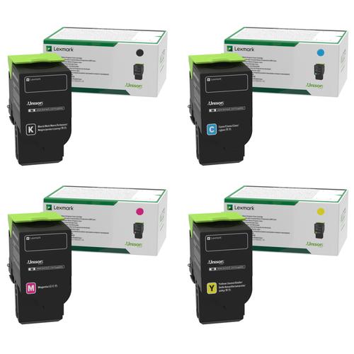 Lexmark 80C00 Set   80C00CG 80C00KG 80C00MG 80C00YG   Original Lexmark Toner Cartridges – Black, Cyan, Magenta, Yellow