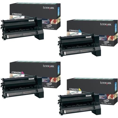 Lexmark C780H2 Set | C780H2CG C780H2KG C780H2MG C780H2YG | Original Lexmark High-Yield Toner Cartridges – Black, Cyan, Magenta, Yellow