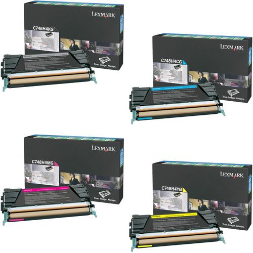 Lexmark C748H4 Set | C746H4KG C748H4CG C748H4MG C748H4YG | Original Lexmark High-Yield Toner Cartridges – Black, Cyan, Magenta, Yellow