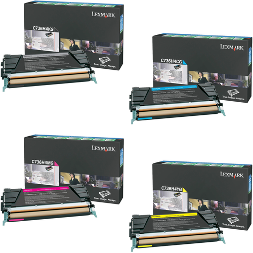 Lexmark C736H4 Set   C736H4CG C736H4KG C736H4MG C736H4YG   Original Lexmark High-Yield Toner Cartridges – Black, Cyan, Magenta, Yellow