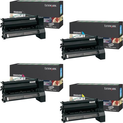 Lexmark 15G041 Set   15G041C 15G041K 15G041M 15G041Y   Original Lexmark Return Program Toner Cartridges – Black, Cyan, Magenta, Yellow