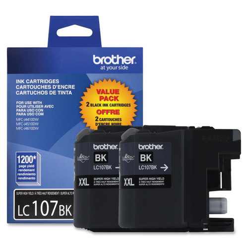Original Brother LC-107 Black Super High Yield Ink Cartridges Pack Of 2