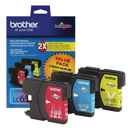 Original Brother LC-65 Color Ink Cartridges Cyan Magenta Yellow Pack of 3