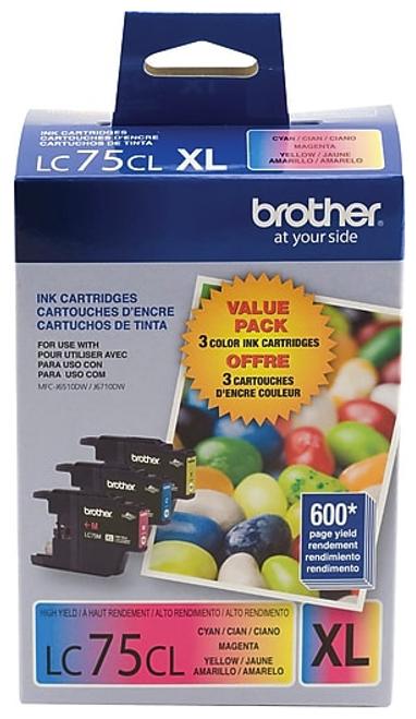 Original Brother LC-75 Ink Cartridges Pack of 3 Cyan Magenta Yellow