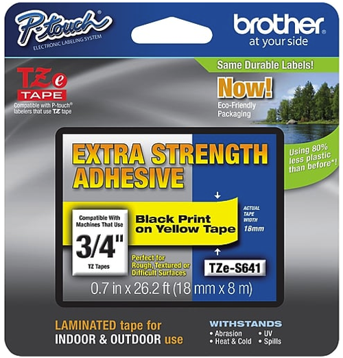 """Brother TZES641 Label Tape, 3/4"""" Black Print on Yellow Tape with Extra Strength Adhesive"""