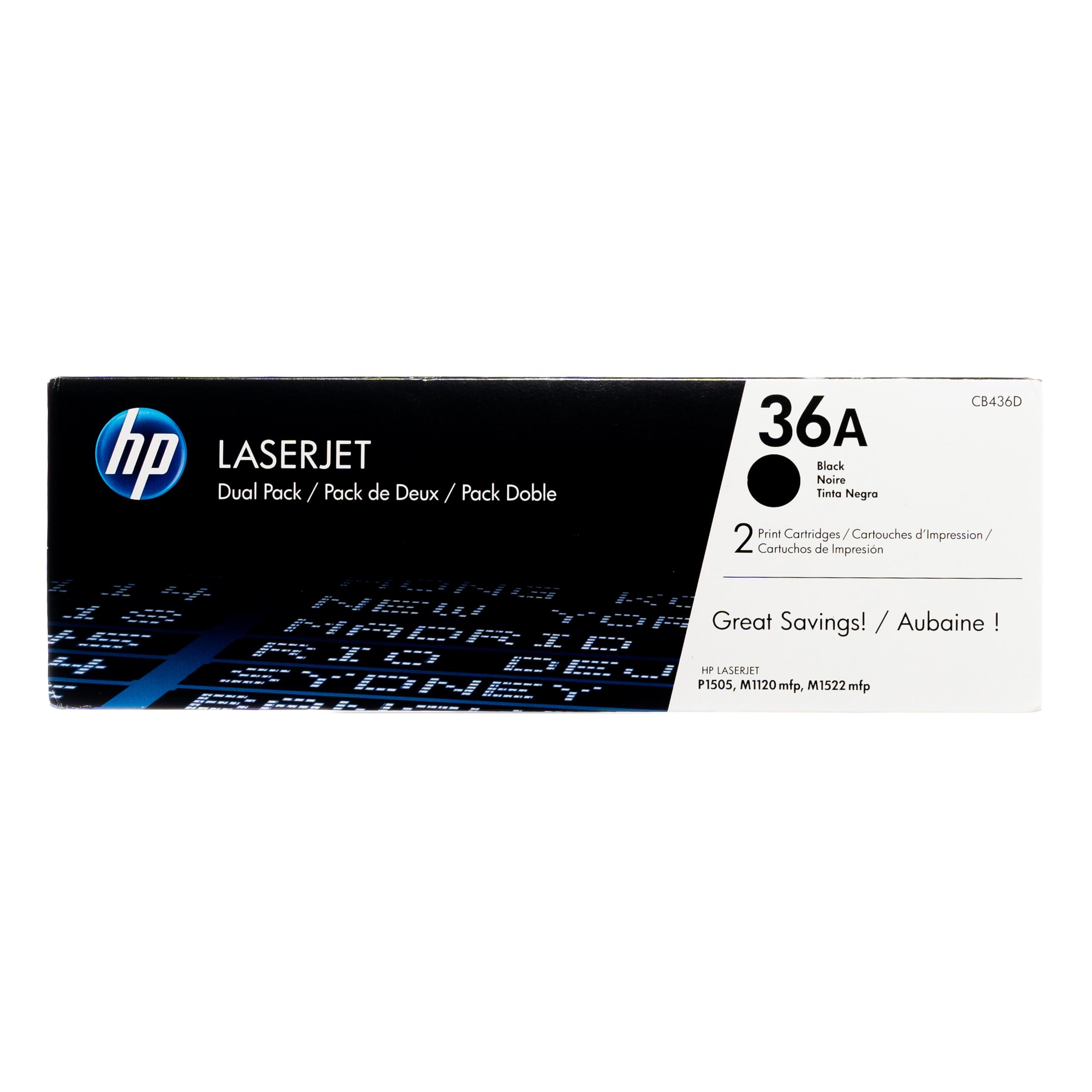 CB436D | HP 36A | Original HP Dual Pack Toner Cartridges – Black