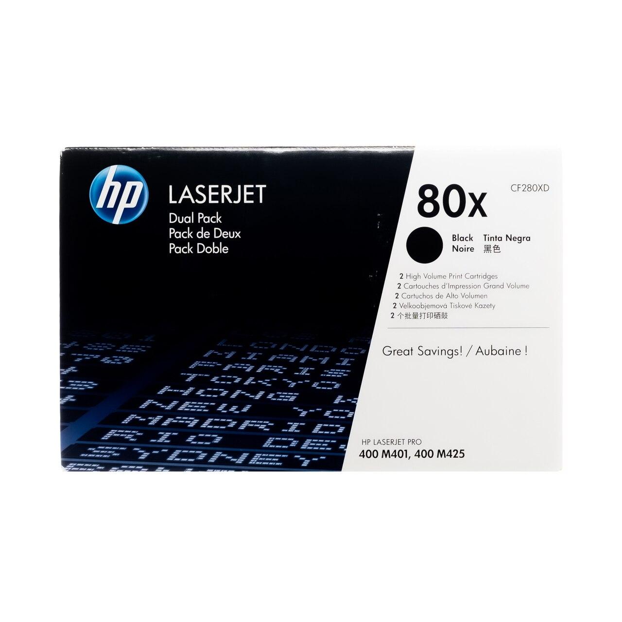 CF280XD SET | HP 80X | Original HP High-Yield LaserJet Toner Cartridges - 2-Pack - Black