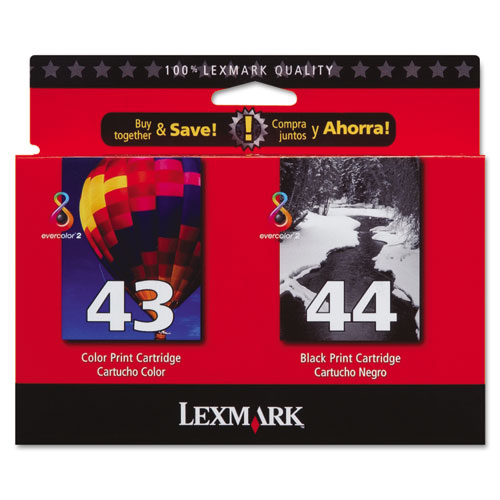 Original Lexmark 43XL 44XL High Yield Black and Color Ink Cartridge Dual Pack 18Y0143 18Y0144