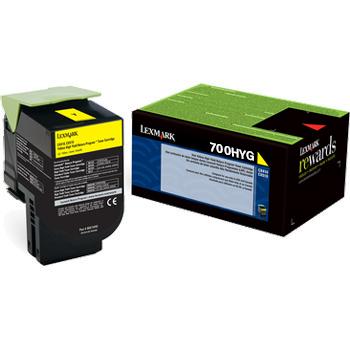 Original Lexmark 70C0HYG Unison 701HY Return Program Yellow High-Yield Toner Cartridge
