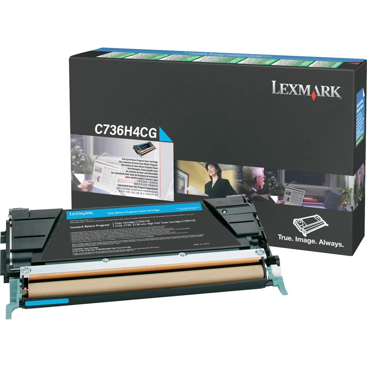 Original Lexmark C736H4CG C736 Cyan Return Program High-Yield Toner Cartridge