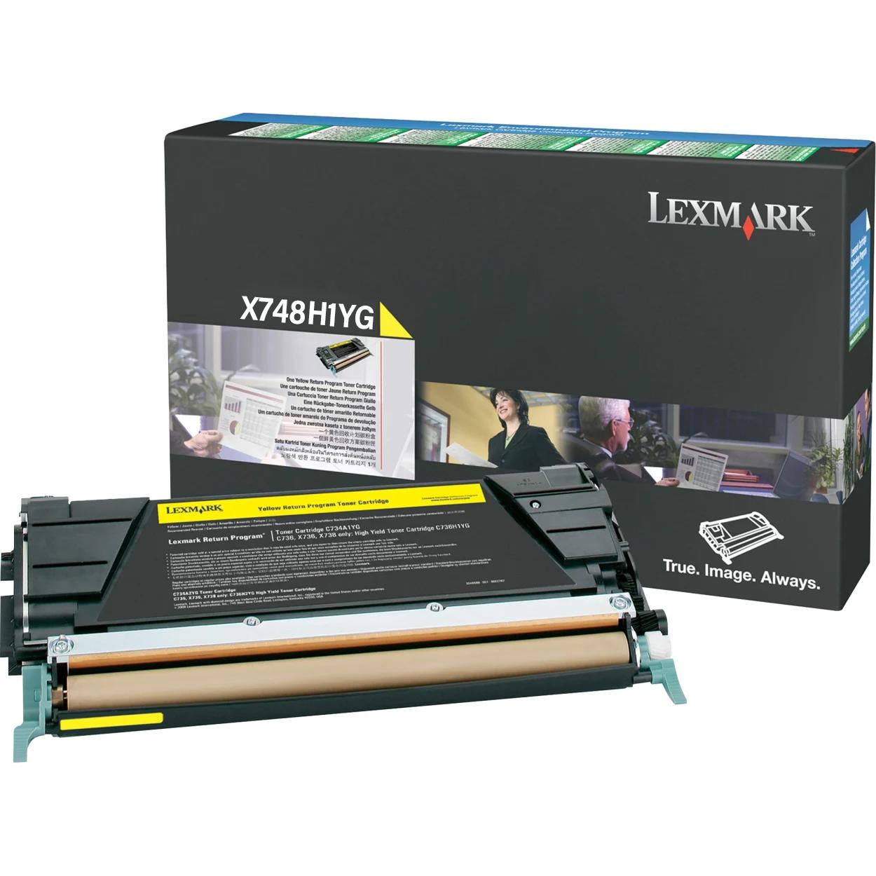 Original Lexmark X748H1YG X748 Yellow Return Program High-Yield Toner Cartridge