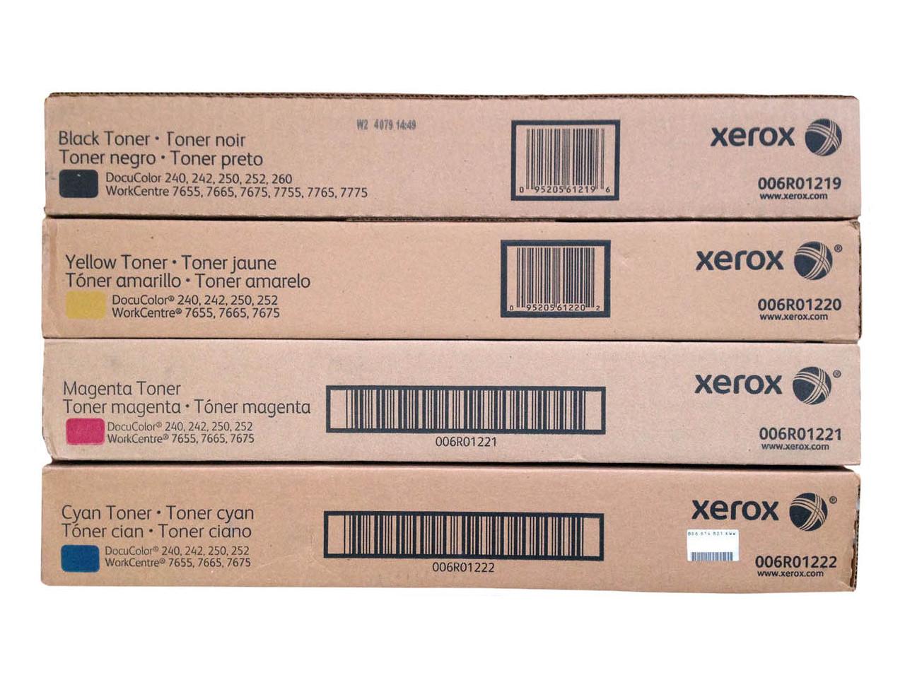 Original Xerox DocuColor 240 Black Cyan Magenta Yellow Toner Cartridge 4-Pack 006R01219 006R01220 006R01221 006R01222