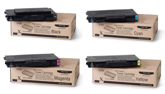 Phaser 6100HC | 106R00680 106R00681 106R00682 106R00684 | Original Xerox High-Yield Toner Cartridge Set – Black, Color