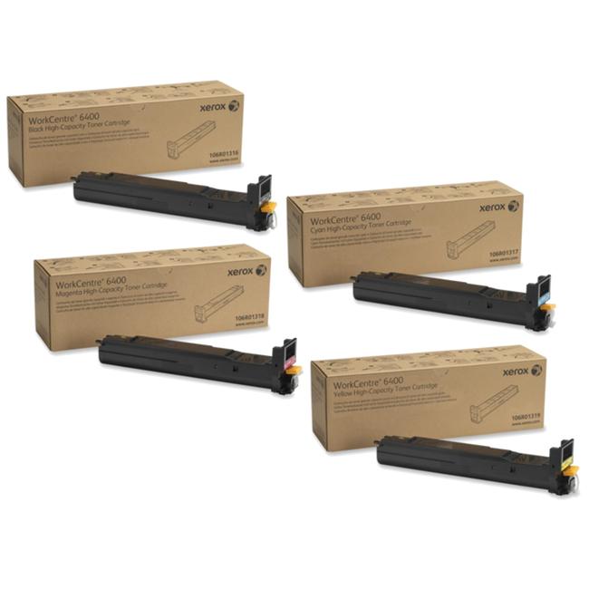 WorkCentre 6400HC | 106R01316 106R01317 106R01318 106R01319 | Original Xerox High-Yield Toner Cartridge Set – Black, Color