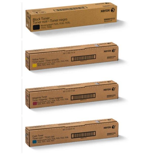 Original Xerox WorkCentre 7525 Black Cyan Magenta Yellow Toner Cartridge 4-Pack 006R01513 006R01514 006R01515 006R01516