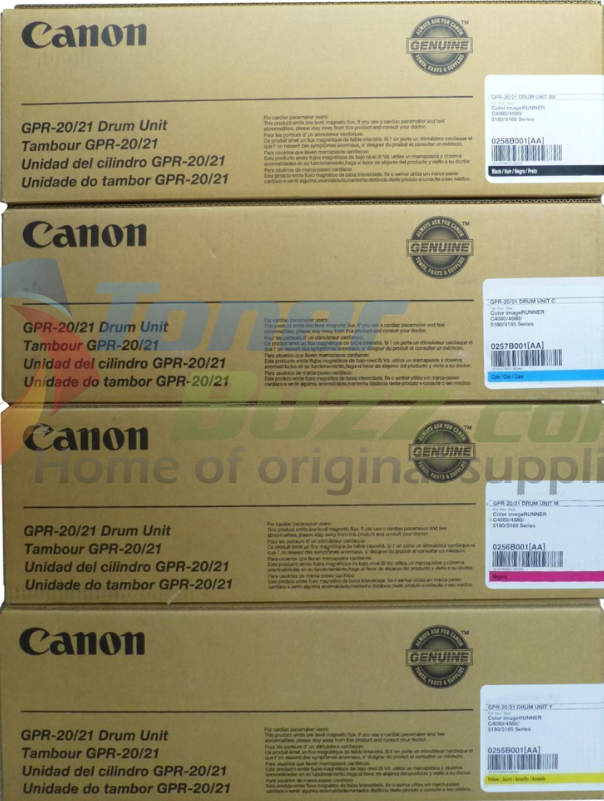 GPR-20 Drum | 0255B001AA 0256B001AA 0257B001AA 0258B001AA | Original Canon Drum Unit Set - Black, Cyan, Magenta, Yellow