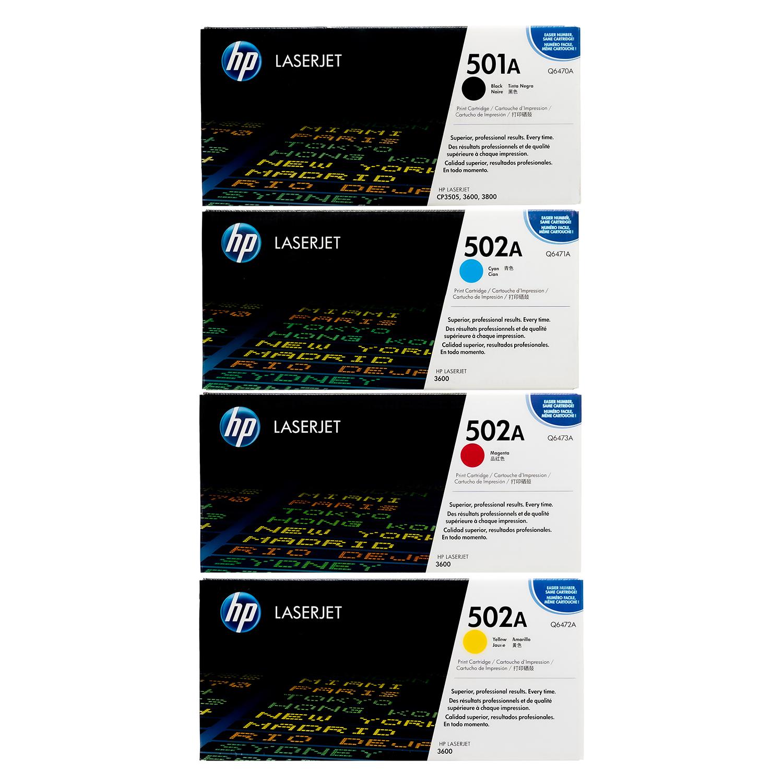 HP 501A 502A SET   Q6470A Q6471A Q6472A Q6473A   Original HP Toner Cartridge - Black, Cyan, Yellow, Magenta