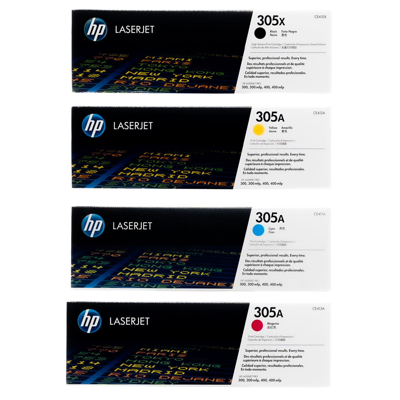 HP 305X 305A SET | CE410X CE411A CE412A CE413A | Original HP Toner Cartridge - Black, Cyan, Yellow, Magenta