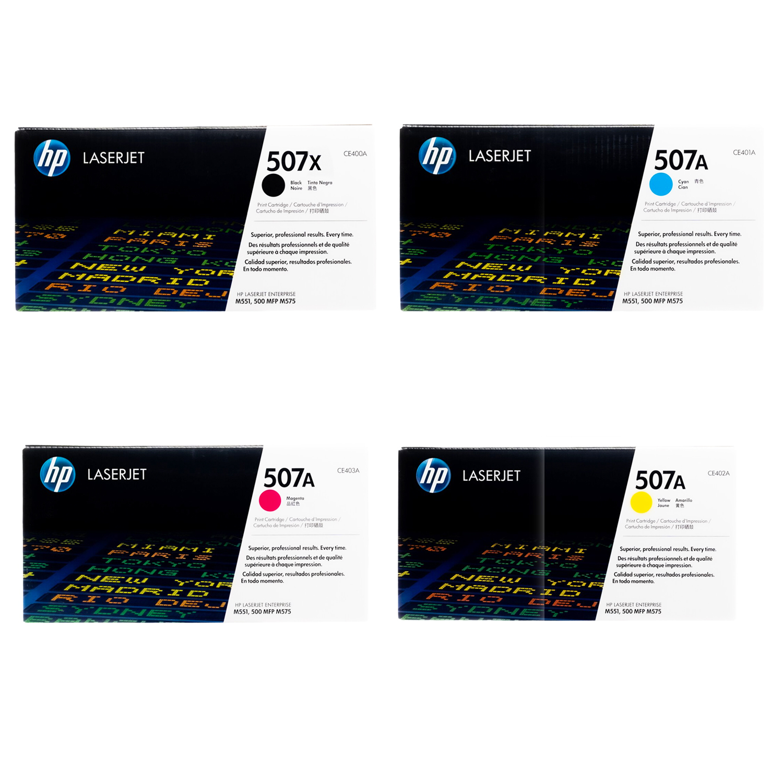 HP 507X 507A SET | CE400X CE401A CE402A | Original HP Toner Cartridge - Black, Cyan, Yellow, Magenta