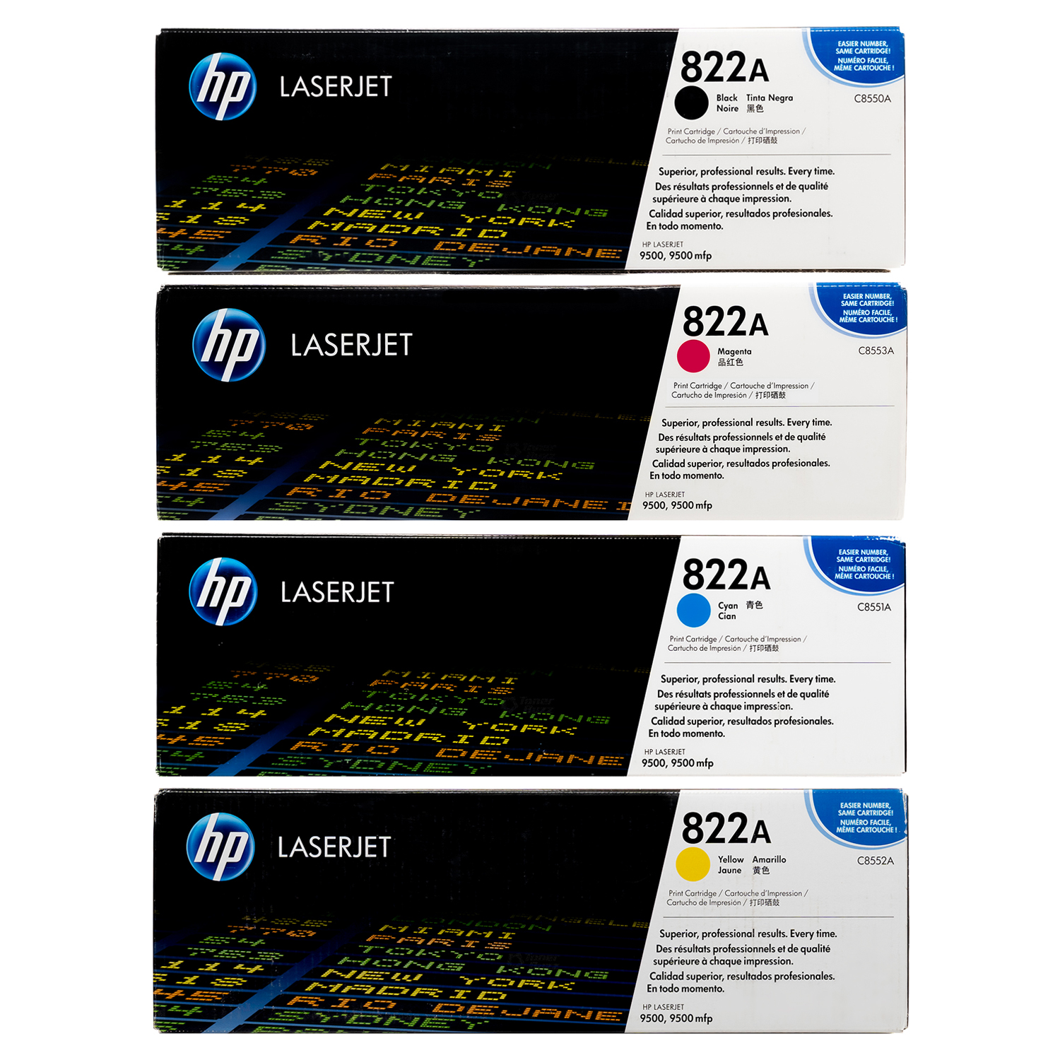 HP 822A Toner SET | C8550A C8551A C8552A C8553A | Original HP Toner Cartridge - Black, Cyan, Yellow, Magenta