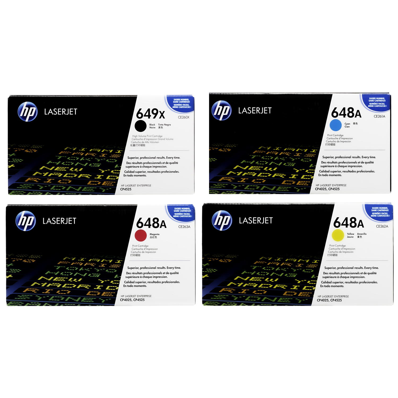 HP 649X 648A SET   CE260X CE261A CE262A CE263A   Original HP Toner Cartridge - Black, Cyan, Yellow, Magenta
