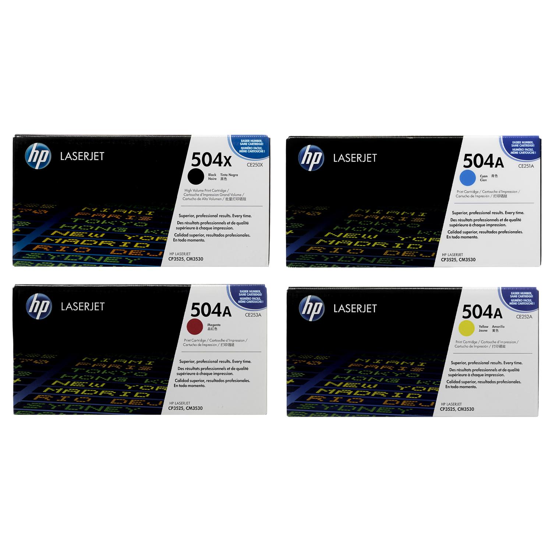 HP 504X 504A CE250X CE251A CE252A CE253A LaserJet Toner Cartridge CMYK Combo Set