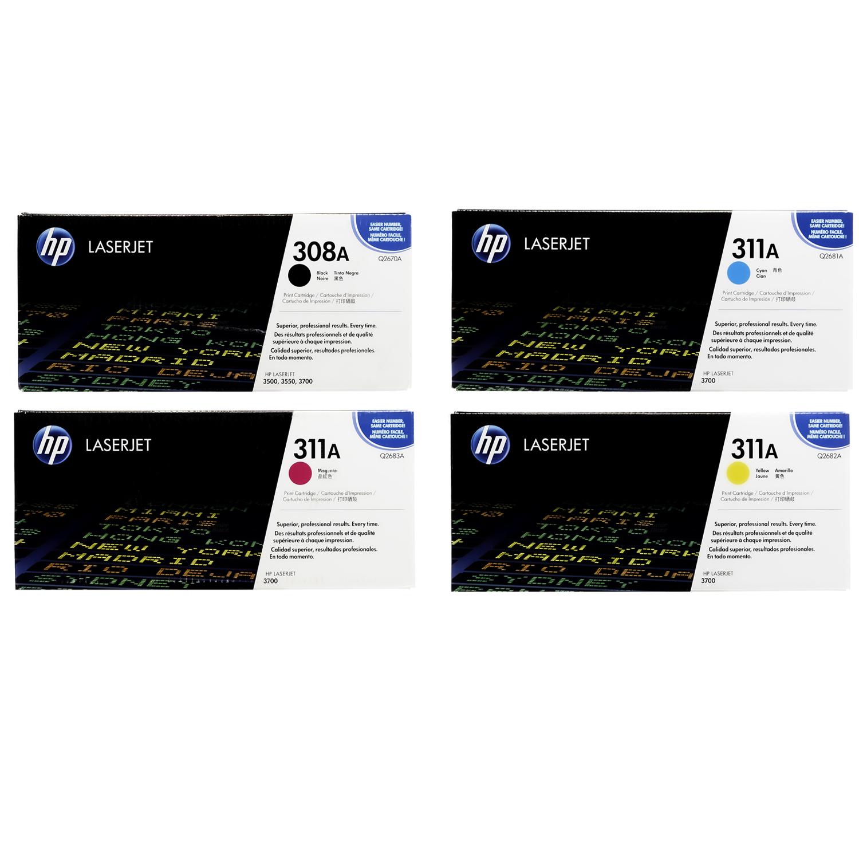 HP 308A 311A SET | Q2670A Q2681A Q2682A Q2683A | Original HP Toner Cartridge - Black, Cyan, Magenta, Yellow