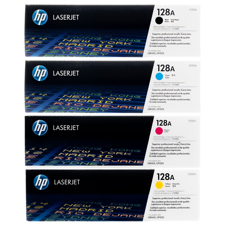 HP 128A SET   CE320A CE321A CE322A CE323A   Original HP Toner Cartridge - Black, Cyan, Yellow, Magenta