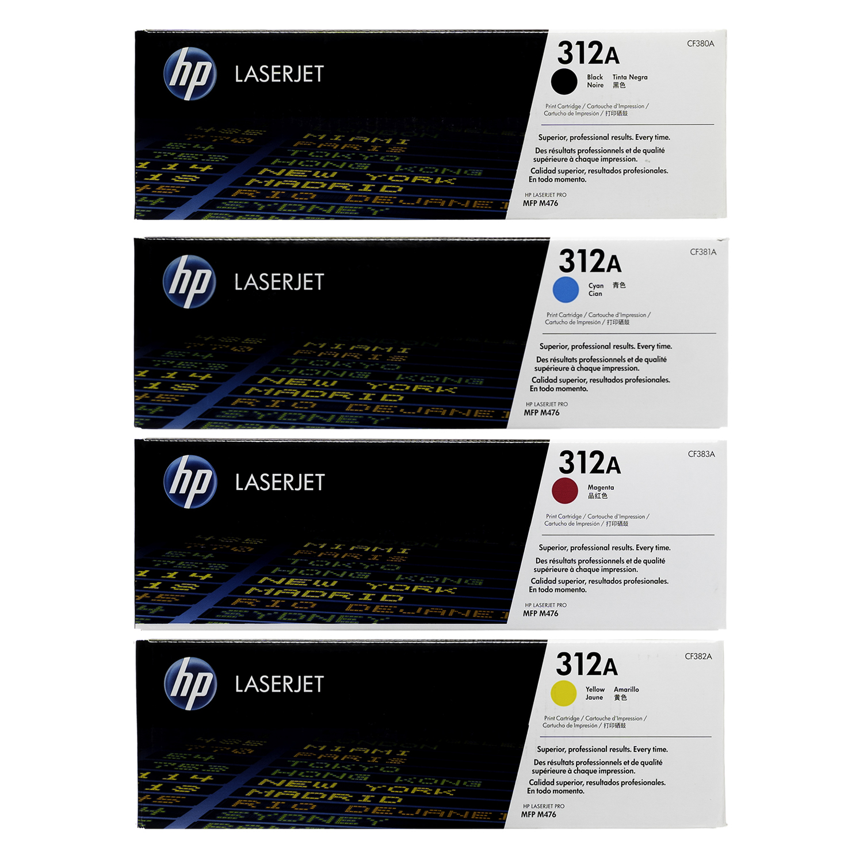 HP 312A SET   CF380A CF381A CF382A CF383A   Original HP Toner Cartridge - Black, Cyan, Yellow, Magenta