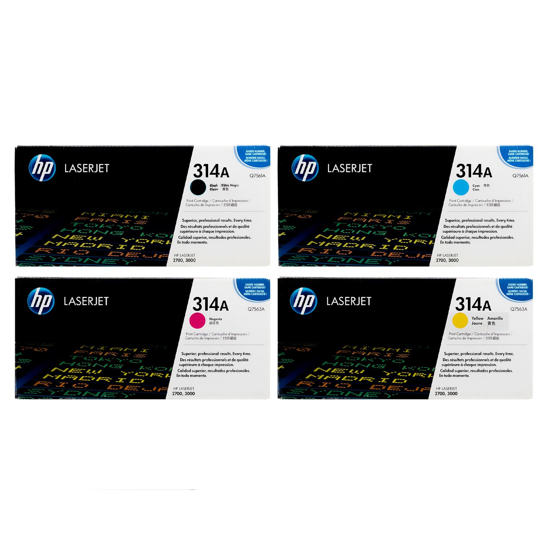 HP 314A SET | Q7560A Q7561A Q7562A Q7563A | Original HP Toner Cartridge Set - Black, Cyan, Magenta, Yellow