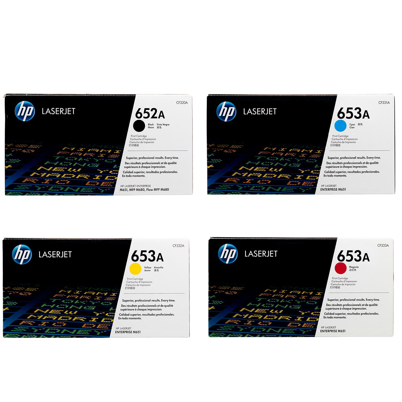 HP 652A 653A SET   CF320A CF321A CF322A CF323A   Original HP Toner Cartridge - Black, Cyan, Yellow, Magenta