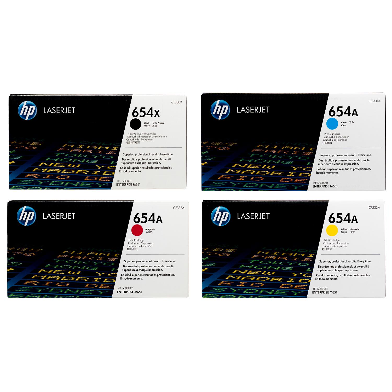 HP 654X 654A SET | CF330X CF331A CF332A CF333A | Original HP Toner Cartridge - Black, Cyan, Yellow, Magenta