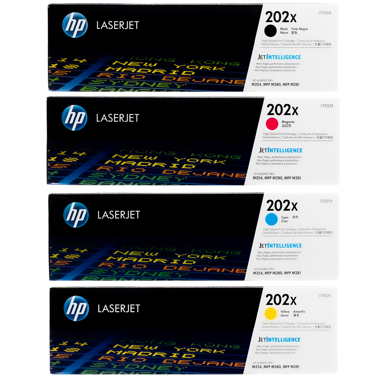 HP 202X SET   CF500X CF501X CF502X CF503X   Original HP Toner Cartridge - Black, Cyan, Yellow, Magenta