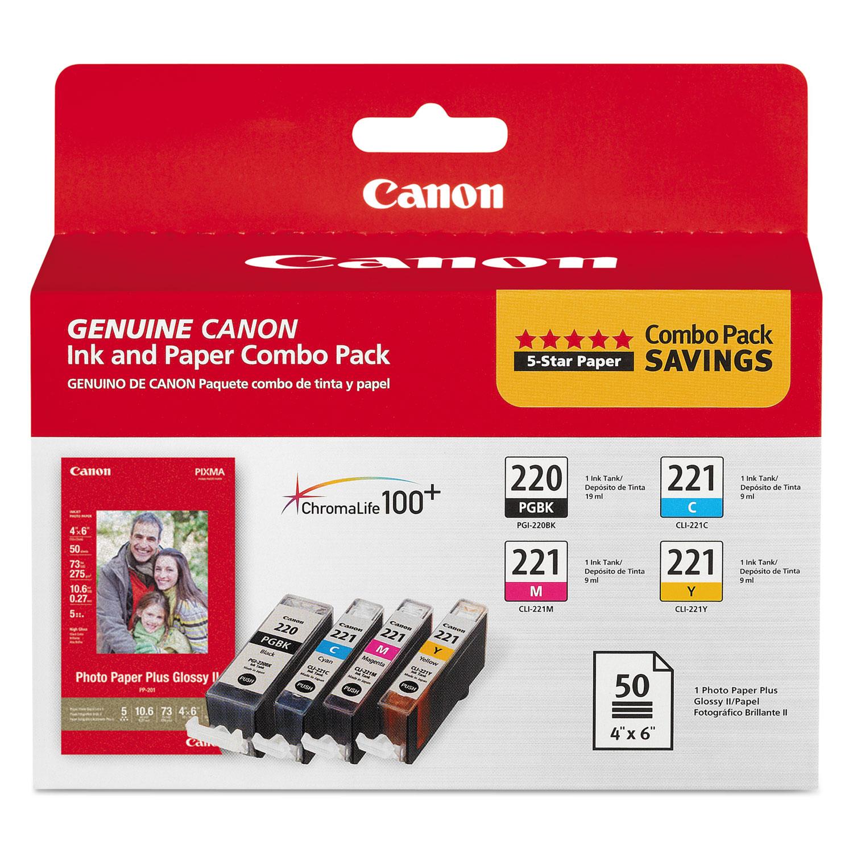 2945B011   Canon PGI-220/CLI-221   Original Canon Ink & Paper Combo Pack - Black, Cyan, Magenta, Yellow