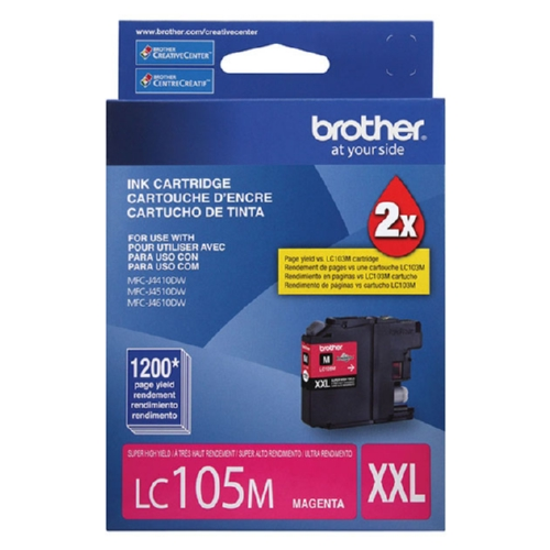 Original Brother LC105M Genuine OEM (LC-105M) EXTRA High Yield Magenta Inkjet Cartridge (1.2K YLD)