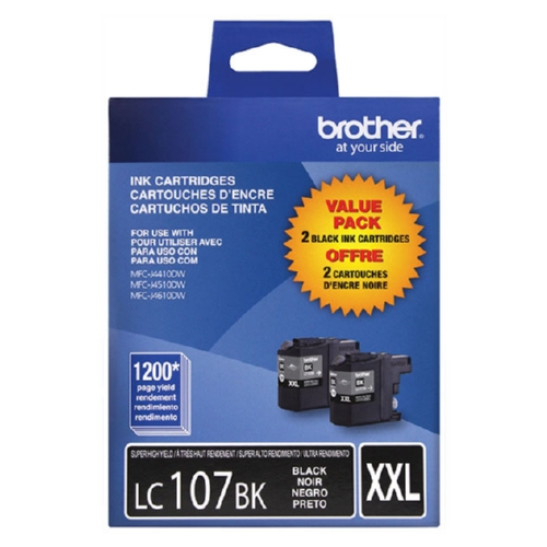 Original Brother LC1072PKS Genuine OEM (LC-1072PKS) EXTRA High Yield Black Combo Pack LC-107BK (2 Pack)