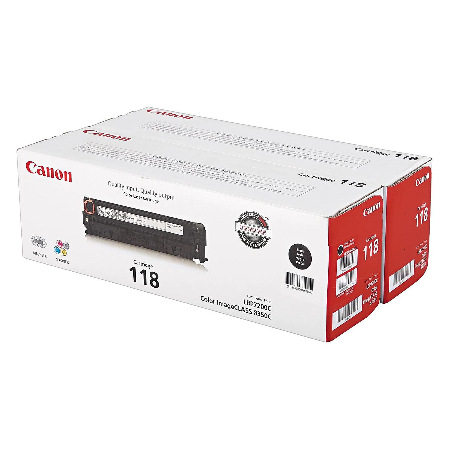 2662B004AA   Canon 118   Original Canon Laser Cartridge - Dual Pack - Black
